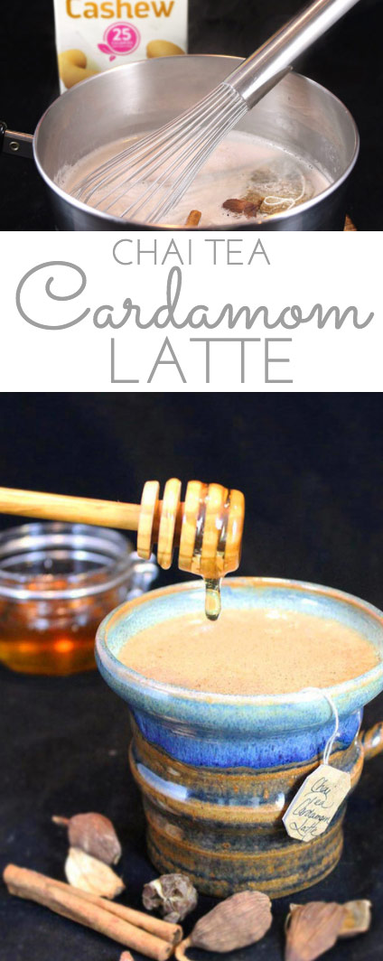 Honey Chai Cardamom Tea Latte: a silky smooth, comforting latte for the colder winter months. Chai tea, black cardamom, Silk Cashewmilk and honey simmer together, creating a uniquely healthy and indulgent mugful of spicy delicious! #SameSilkySmoothTaste #AD @Walmart @Silk