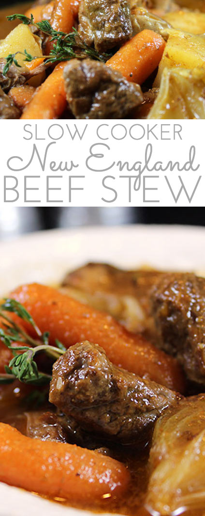 New England Slow Cooker Beef Stew Recipe. Hearty and tender beef stew cooks all day long in the crockpot. Rich gravy and tender beef and vegetables. Best beef stew ever!