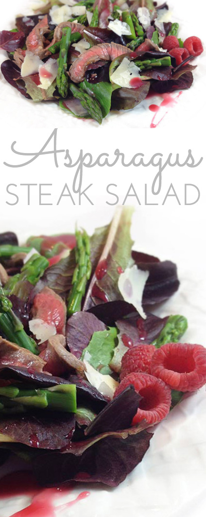 Steak & Asparagus Salad w/raspberries comes together quickly at the last minute, perfect for company. It's a gorgeous and appetizing main dish salad!
