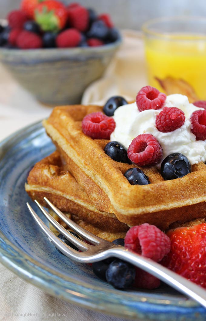 Pair these White Wheat Buttermilk Waffles with fresh berries and powdered sugar or butter and maple syrup for a delicious treat.