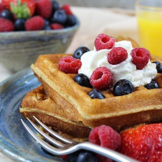 White Wheat Buttermilk Waffle Recipe w/Fresh Berries