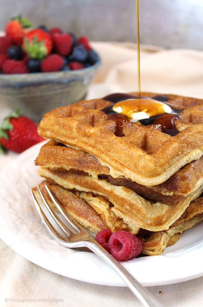Pair these tender, golden White Wheat Buttermilk Waffles with fresh berries and powdered sugar or butter and maple syrup for a delicious treat.