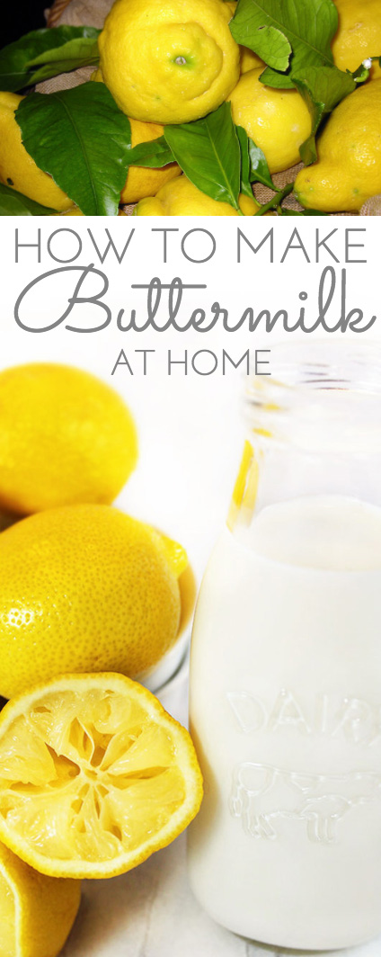 How to Make Buttermilk: simple recipe to make buttermilk at home using just two ingredients. Other buttermilk substitutes are included.