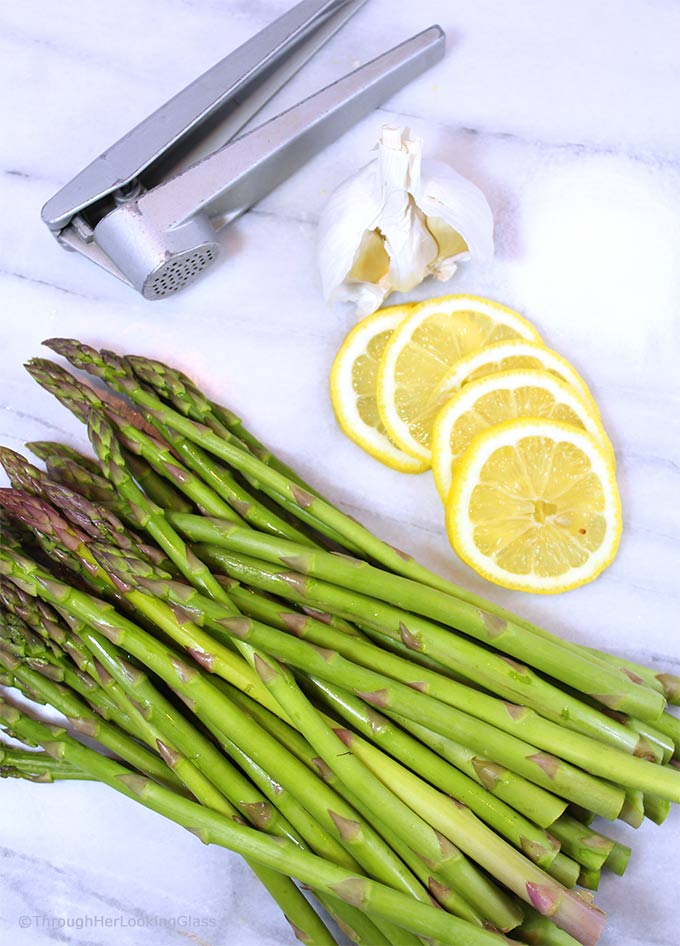 Lemony Garlic Roasted Asparagus: You'll love this zippy new twist on asparagus. Fresh asparagus is oven-roasted 'til tender, basted with olive oil, garlic, fresh lemons and lemon zest. Perfection!