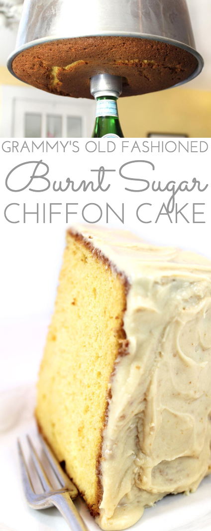 This delicate flavored Old-Fashioned Burnt Sugar Chiffon Cake Recipe is an original family recipe, legend in our house growing up. Step by step directions.