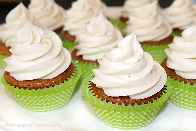 Carrot Cake Cupcakes w/Vanilla Bean Cream Cheese Frosting: tender, carrot cake cupcakes with beautiful texture. Luscious cream cheese icing with vanilla bean flecks. Out of this world good!