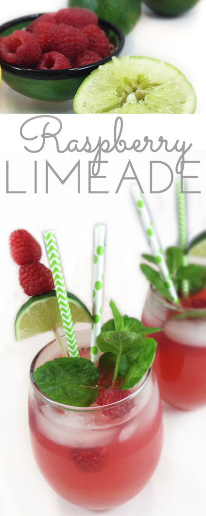Raspberry Limeade: the perfect fun, summery drink. Cool and refreshing. Sweet and tart. And pink! Says summer and vacation in a fabulously fruity way.