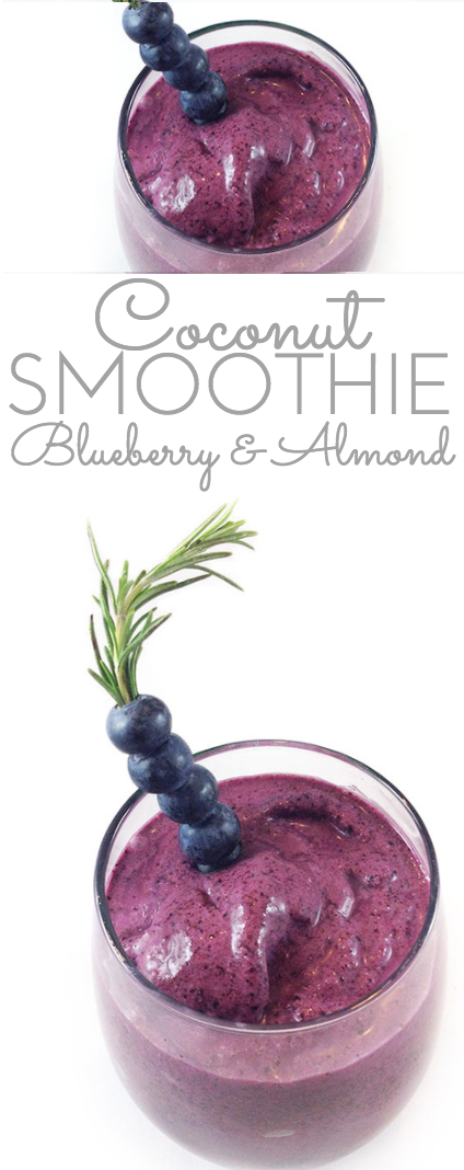 This Blueberry Coconut Almond Smoothie is light, cool, refreshing and tasty. The almonds, blueberries, yogurt and coconut milk make it super nutritious too!