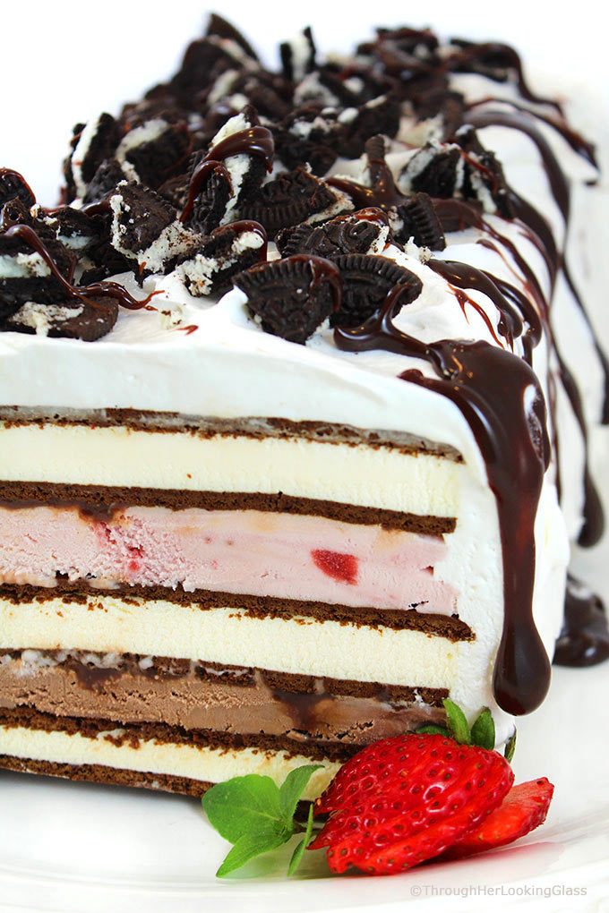 Easy neapolitan ice cream sandwich cake recipe through her looking this 10 minute neapolitan easy ice cream cake recipe is fast fast fast to make ccuart Gallery