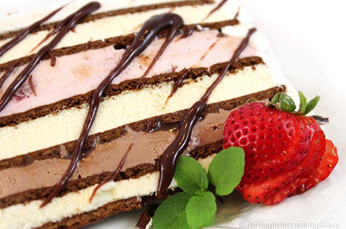 This Easy Neapolitan Ice Cream Sandwich Cake Recipe is fast fast fast to make. And it disappears just as quickly too. Layer ice cream and fudge sauce between ice cream sandwiches and you're good to go! Say goodbye to expensive store bought ice cream cakes this summer.