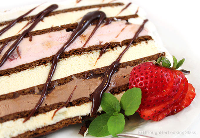 This 10 Minute Neapolitan Easy Ice Cream Cake Recipe is fast fast fast to make. And it disappears just as quickly too. Layer ice cream and fudge sauce between ice cream sandwiches and you're good to go! Say goodbye to expensive store bought ice cream cakes this summer.