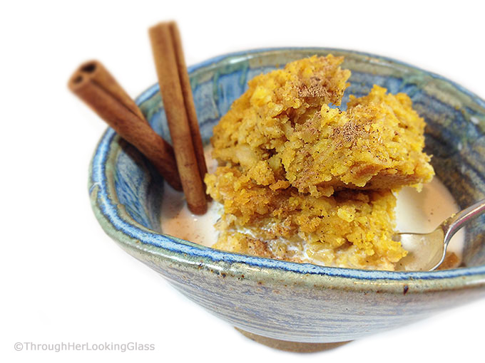 "Maple Pumpkin Baked Oatmeal. Easy weekday or weekend breakfast. Makes a 9 X 13"" panful. Easy & delicious baked oatmeal recipe, sweetened w/ maple syrup."