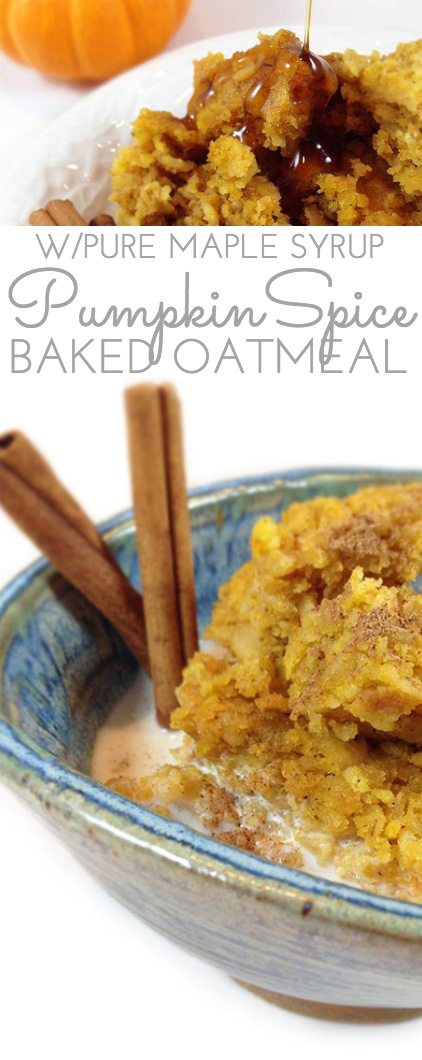 "Maple Pumpkin Baked Oatmeal. Easy weekday or weekend breakfast. Makes a 9 X 13"" panful. Easy & delicious baked oatmeal recipe w/canned pumpkin, sweetened w/ maple syrup."
