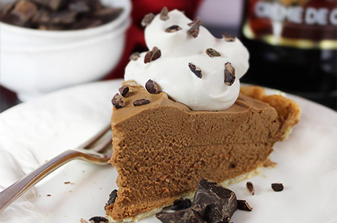 ThisFrench Silk Pie Recipe from Bar Harboris a rich, homemade chocolate mousse consisting of eggs, cream, chocolate, sugar, and butter. It's topped with heavy cream whipped with creme de cacao. (Shriek!)