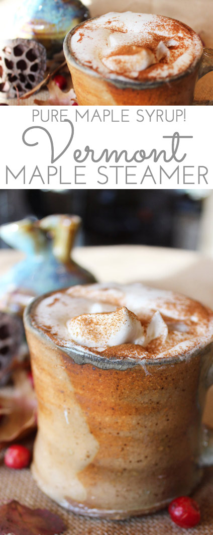 Steaming milk whisked to a froth combined with sweet, pure maple syrup. A dollop of fresh whipped cream floating on top. Now that is a bonafide maple steamer.