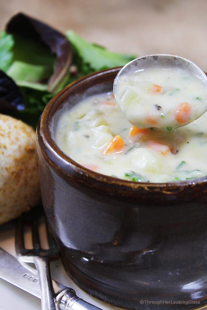 Tried and true, this Irish Potato Chowder Recipe won't disappoint! Creamy, rich chowder chock full of potatoes, carrots, celery and herbs.