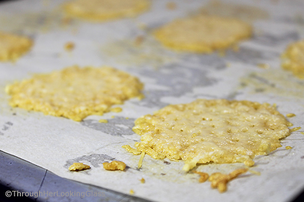 Salty, crispy, low carb and addictive: Easy Gourmet Baked Parmesan Cheese Crisps. You'll love these easy to make oven baked cheese crisps.