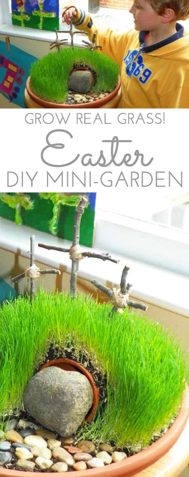 DIY Easter Mini Garden. Easter brings new life and hope. Brings days of anticipation and wonder from kids of all ages.