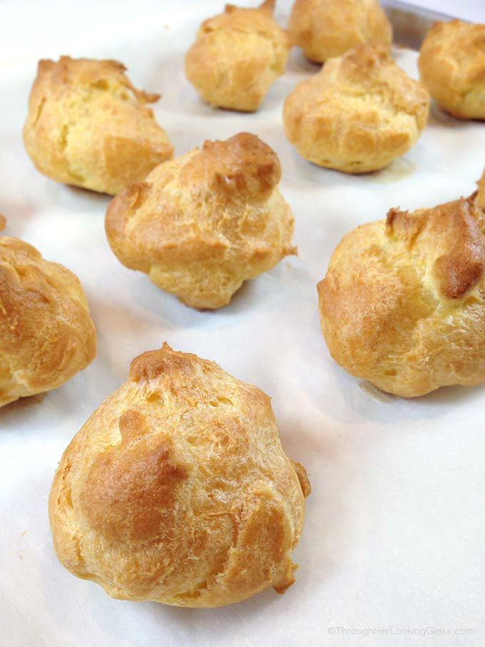 Lemon Curd Whipped Cream Filled Easy Cream Puffs are a light and puffy dessert, perfect for spring baby or wedding showers, even Easter. Beautiful presentation and so easy to make!