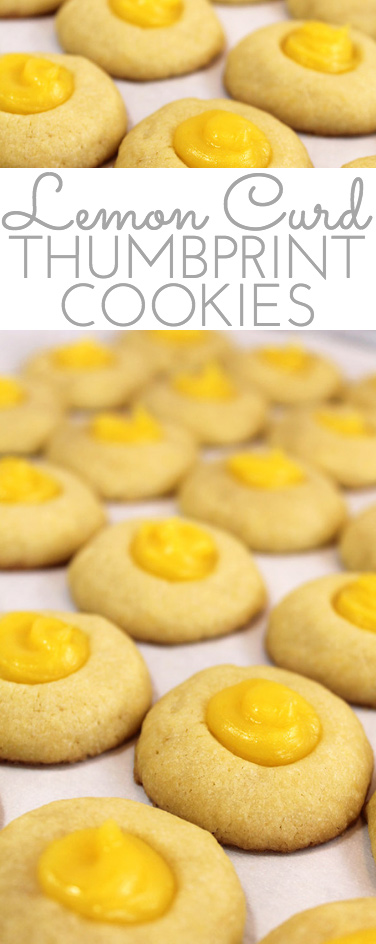 Buttery shortbread Lemon Curd Easy Thumbprint Cookie Recipe for cheerful springtime baking! Buttery shortbread cookies nest dollops of yummy sweet & sour lemon curd. If you love lemon curd like I do, this is the easy cookie for you!