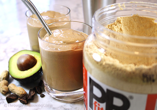 Try this Chocolate Peanut Butter Smoothie Recipe w/Avocado. I've been perfecting it for the last few weeks now. It's extra creamy, chocolatey and peanut buttery - and packed with 25 grams of protein and no added sugar.
