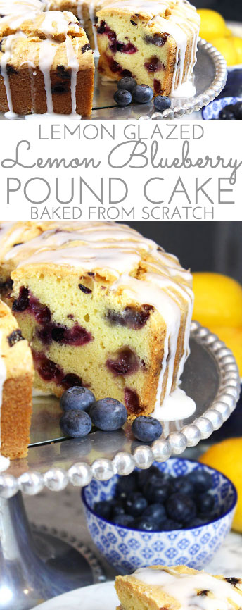 A generous slice of this Glazed Lemon Blueberry Pound Cake is especially scrumptious accompanied by a tall glass of fresh squeezed lemonade. And a sprig of mint. Tender, buttery lemon pound cake is studded with fresh, juicy blueberries for the perfect summer combo.