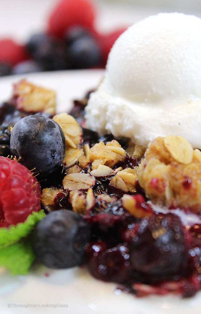 This Summer Triple Berry Crumble Recipe has all the berry-licious fresh summer flavors you crave: blueberries, blackberries and raspberries. All topped with a sweet and crunchy oatmeal crumble.