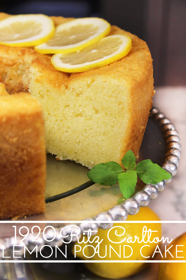 1920 Famous Ritz Carlton Lemon Pound Cake Recipe is the one for you! This dense, old-fashioned buttery lemon pound cake was a favorite dessert at the Ritz Carlton in the 1920's and it's still popular today.