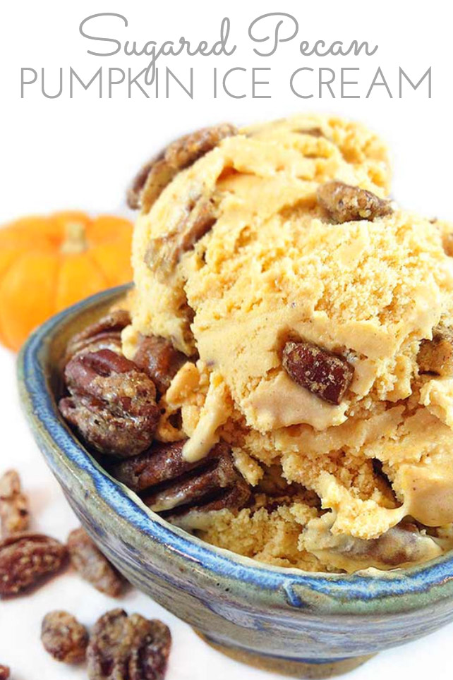 Sugared Pecan Pumpkin Ice Cream. This creamy and delicious ice-cream reminds me of pumpkin pie. Gourmet ice cream perfect for the holidays!
