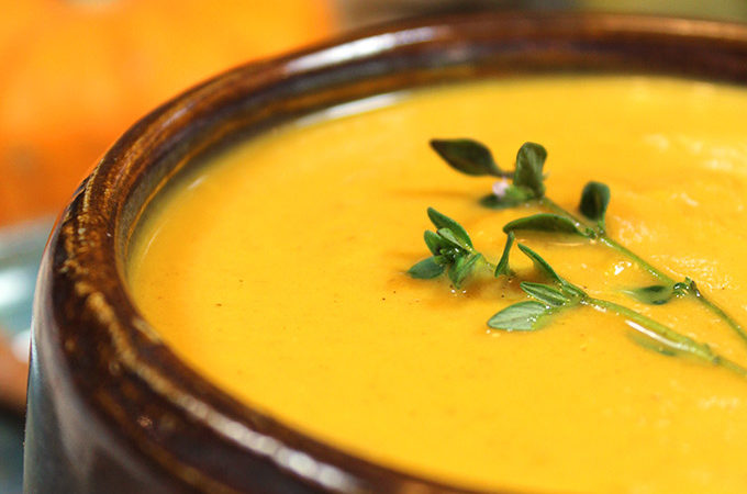 Maple Pumpkin Bisque: creamy, flavorful pumpkin soup lightly sweetened with pure maple syrup. Perfect appetizer or main for fall and winter. You'll love this easy seasonal bisque made with canned pumpkin.