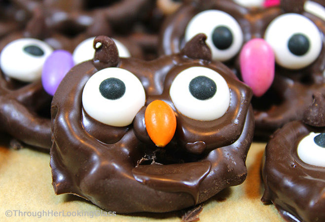 Salty and sweet, Chocolate Pretzel Owl Candy is fun for kids of all ages. Dunk snacking pretzels in chocolate for irresistibly crunchy party snacks.
