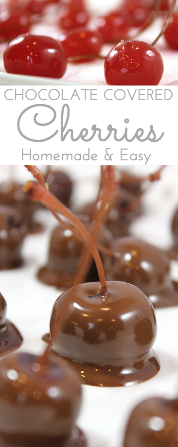 Homemade Chocolate Covered Cherries are a pop of delicious flavors in your mouth! Dunk dye-free, preservative free maraschino cherries in chocolate for an extra special treat at the holidays. Soak cherries in rum, brandy or alcohol first for extra flavor pop!