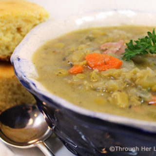 Hearty Split Pea and Ham Soup is the perfect steaming bowlful on a chilly winter day. Sautéedcarrots, onions and celery simmer with split peas, ham and flavorful spices for a hearty and nutritious soup that hits the spot.
