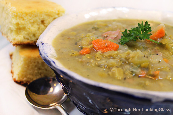 Hearty Split Pea and Ham Soup is the perfect steaming bowlful on a chilly winter day. Sautéed carrots, onions and celery simmer with split peas, ham and flavorful spices for a hearty and nutritious soup that hits the spot.